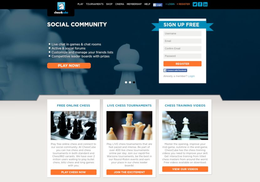 chesscube.com home page
